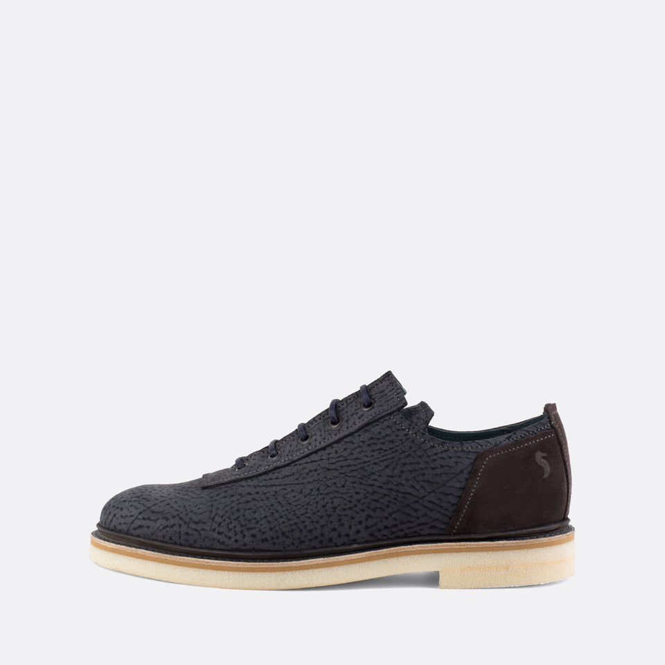 Textured Blue Derby Shoes