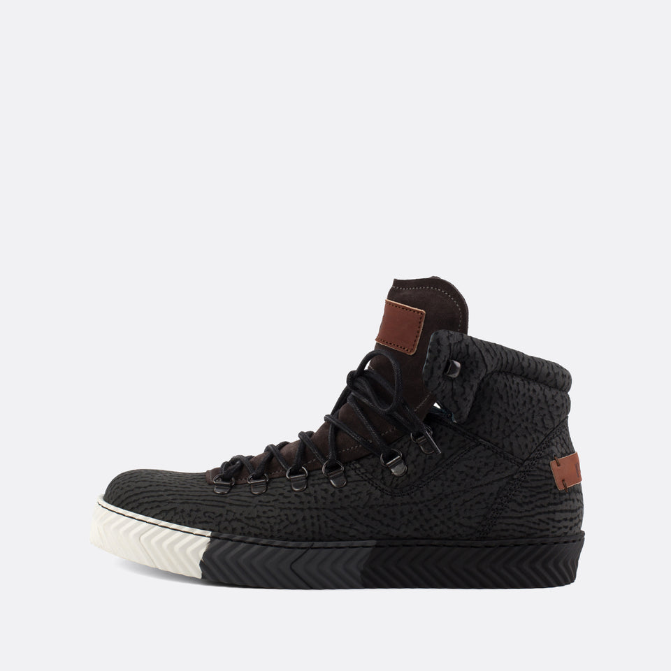 Textured Black Hiking Sneakers