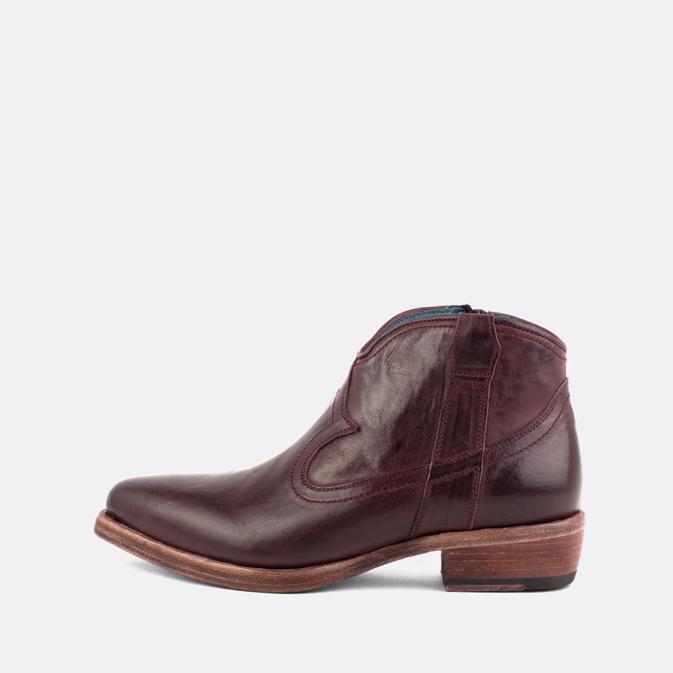 Burgundy Texan Ankle Boots
