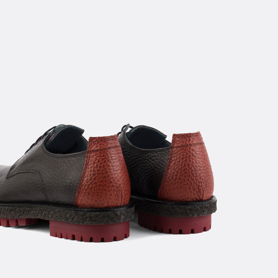 Textured Brown Derby Shoes