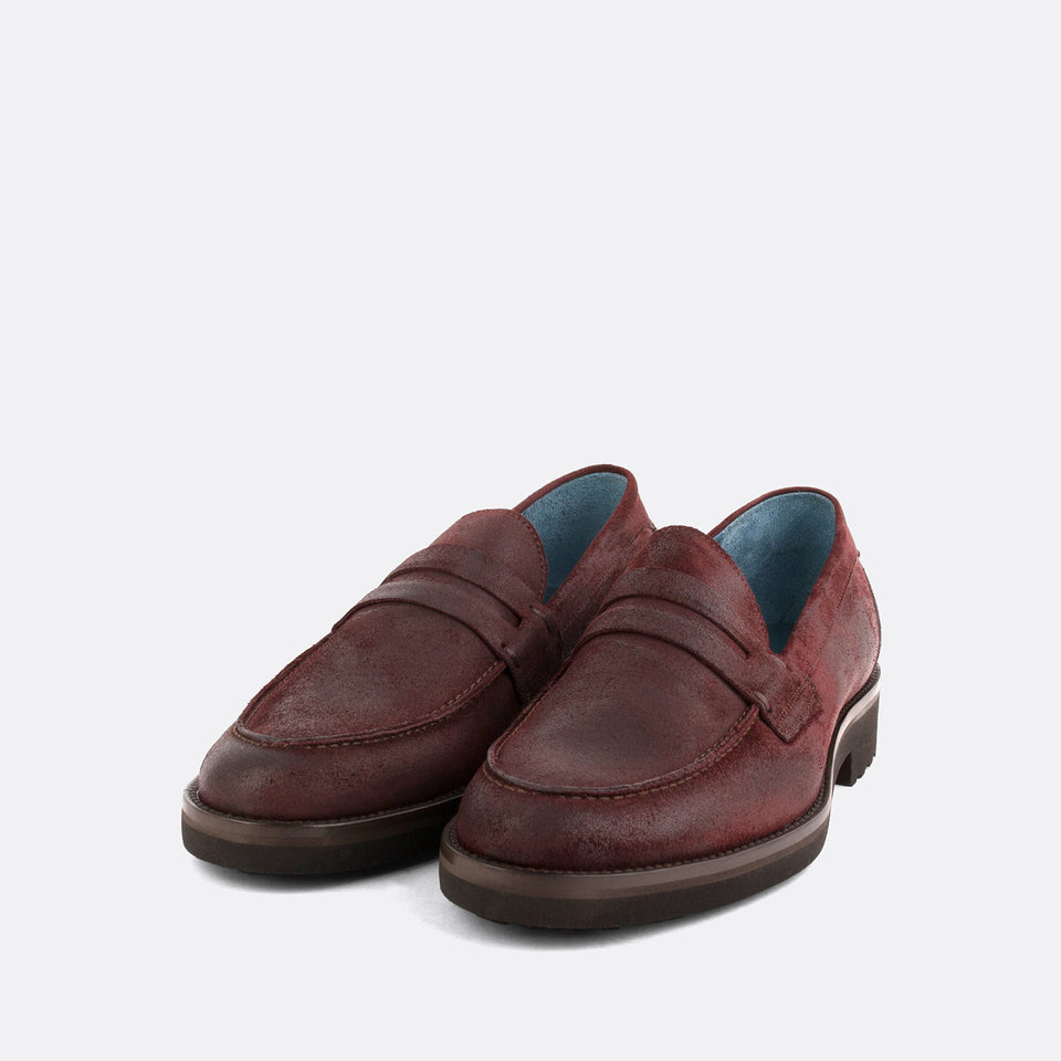 Burgundy Waxed Penny Loafers