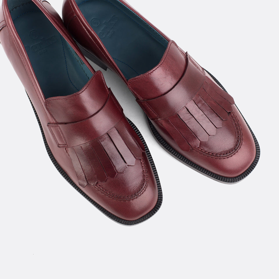 Burgundy Kiltie Loafer