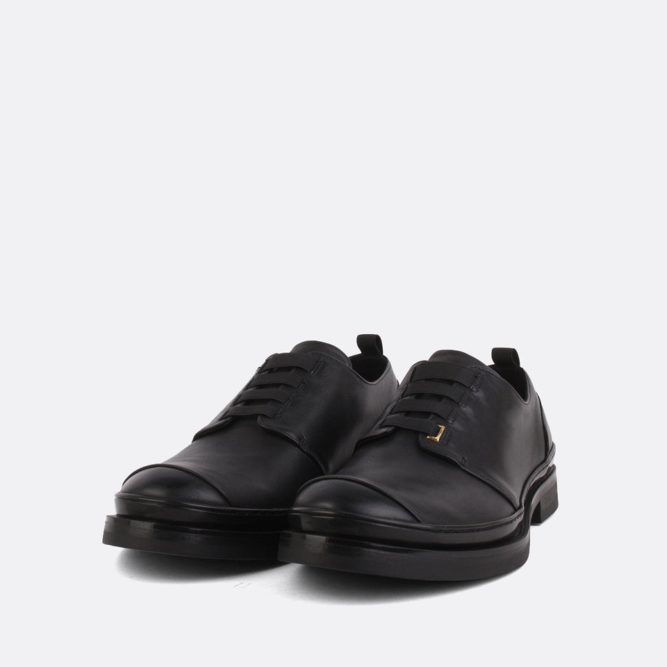 Black Elastic Gummy Derby Shoes