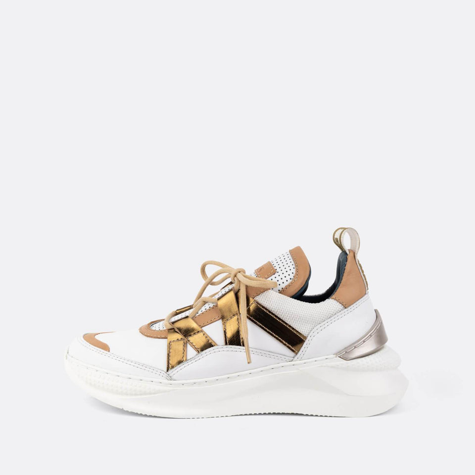 White/Gold Spoiler Sneakers