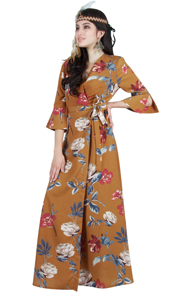 Floral Print Maxi Dress Casual A-Line Flowy Boho Sundress