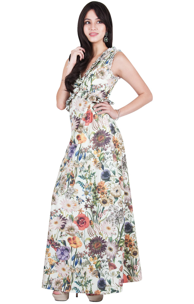 Floral Print Long Maxi Dress Sleeveless Party Beach Wedding
