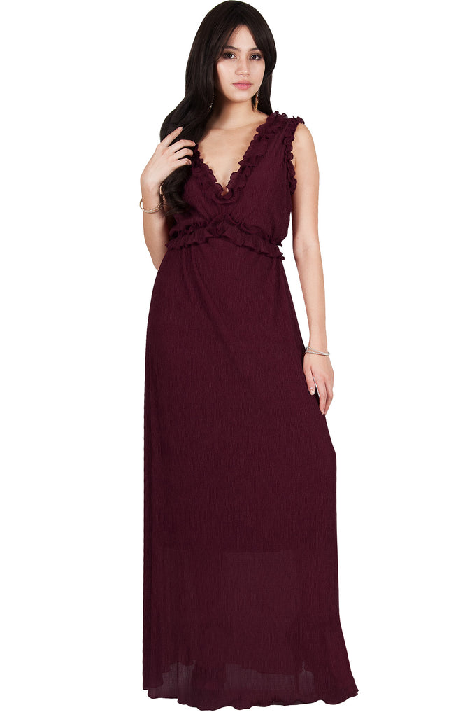 Evening Maxi Dress Party Sleeveless Bridesmaid Sexy Empire