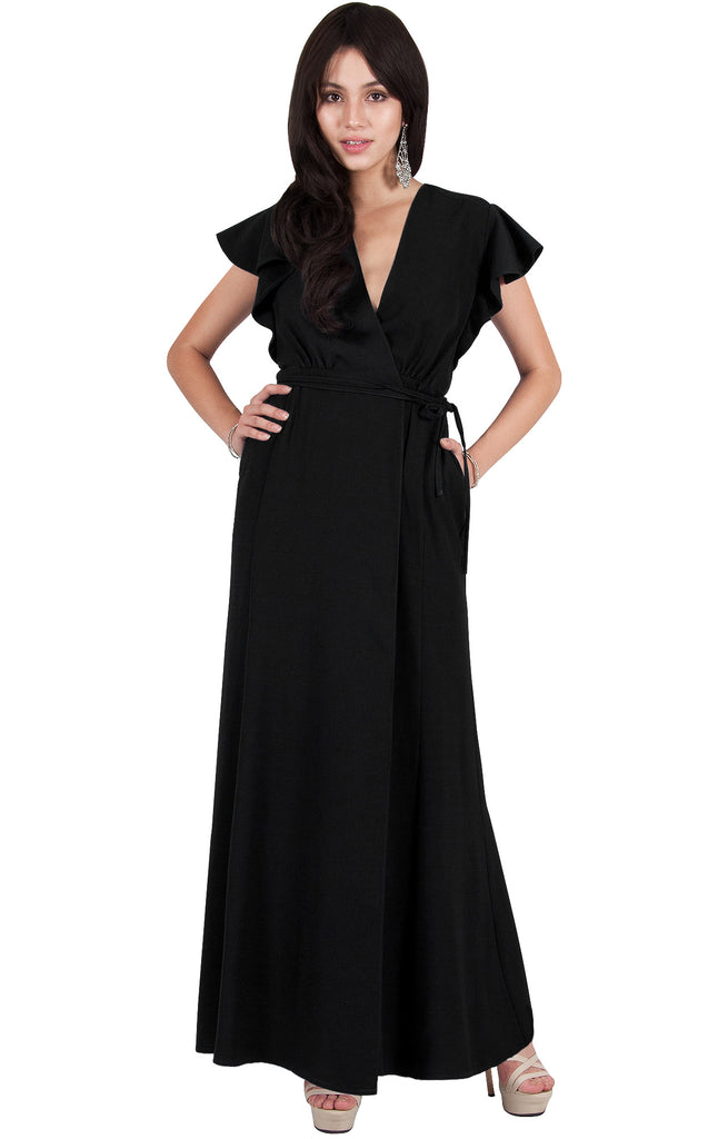 Wrap Maxi Dress Casual Summer Gown Sexy Dressy