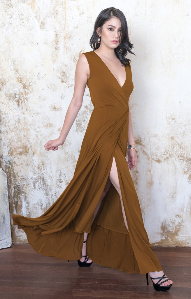 Dressy Evening Maxi Dress Wedding Guest Vneck Formal