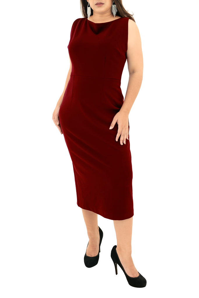 Sleeveless Midi Dress Sheath Work Formal Knee Length Fall