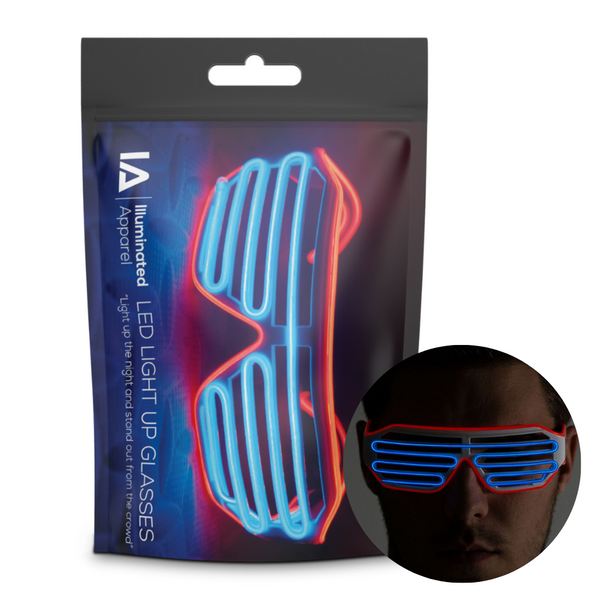 Electric Blue & Red Neon LED Light Up Glasses