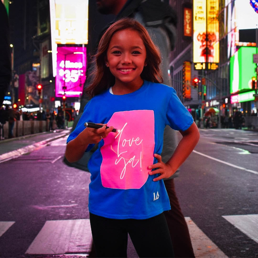 Kids Glow In The Dark Interactive T-shirt in Blue and Pink Glow