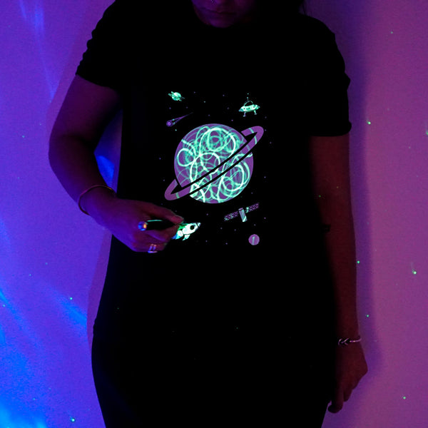 Outer Space Interactive Glow In The Dark T-Shirt in black