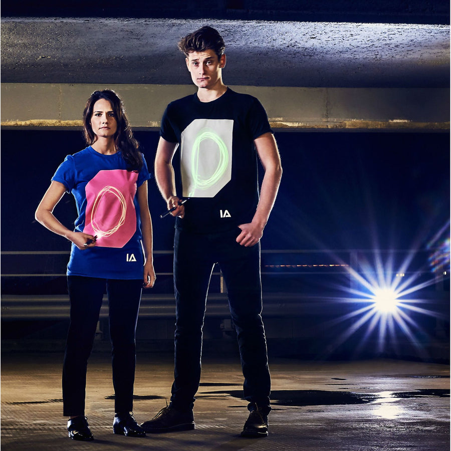 Adults Interactive Glow T-shirt | Blue & Peach Glow