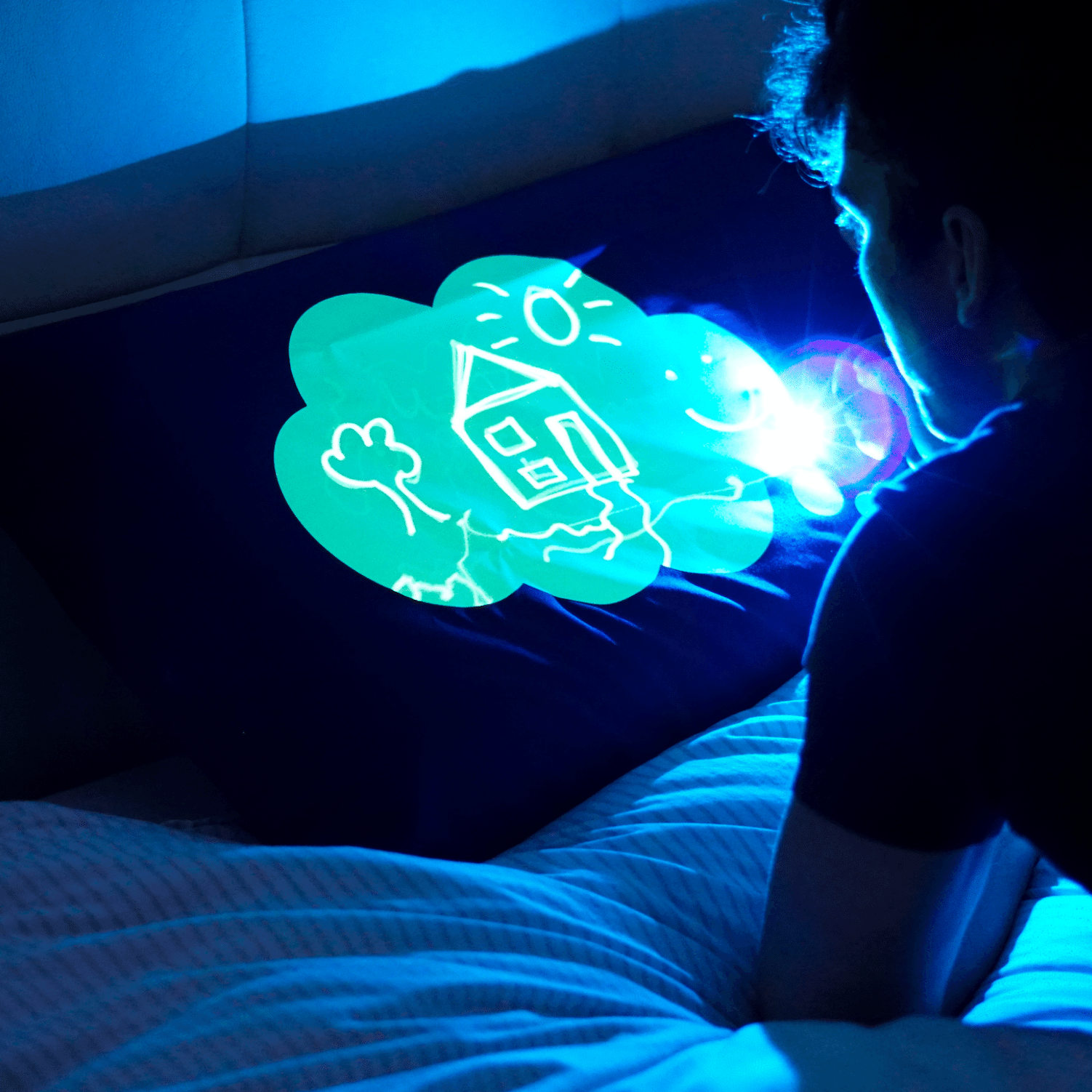 Glow Sketch Glow In The Dark Doodle Pillowcase