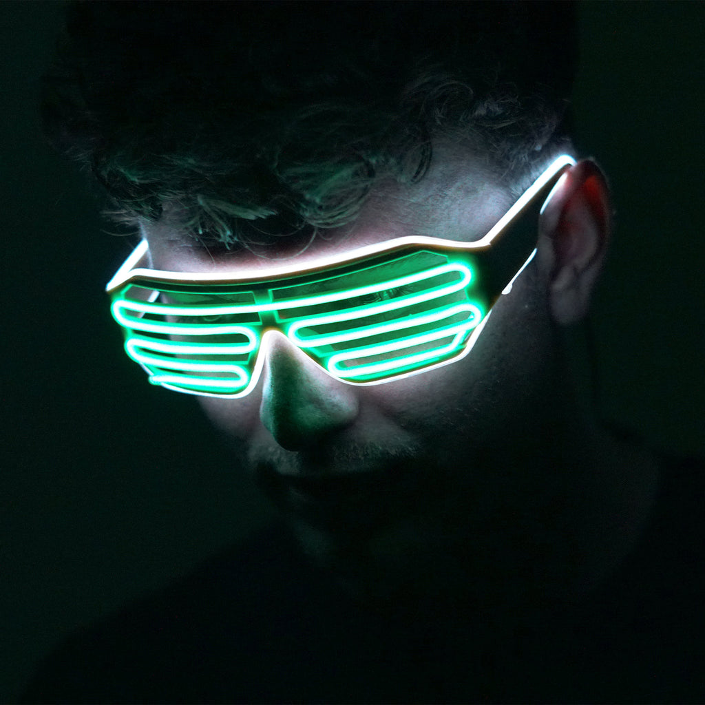 Electric Green & White Neon LED Light Up Glasses