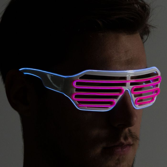 Electric Pink & Blue Neon LED Light Up Glasses
