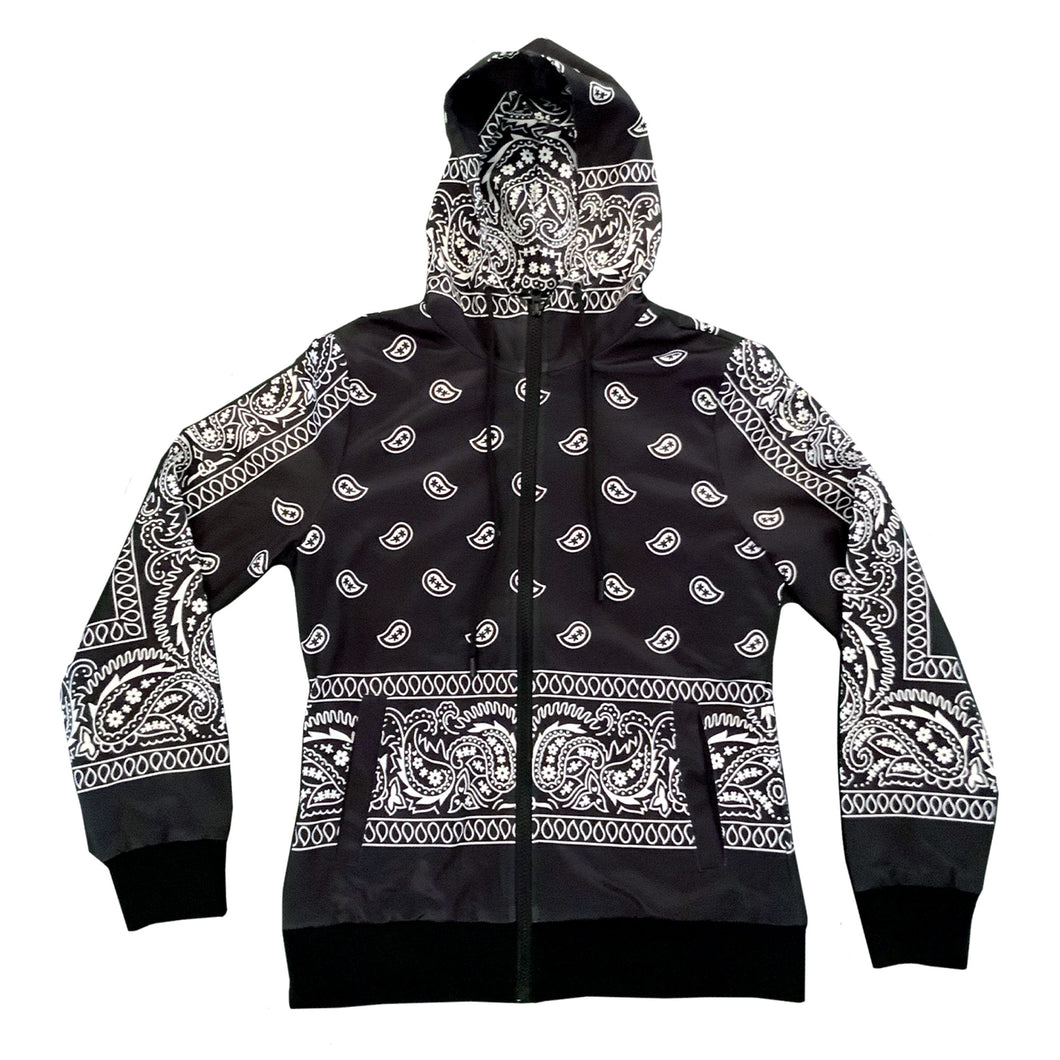 Unruly Zipper Jacket Hoodie - Bandana Black/White