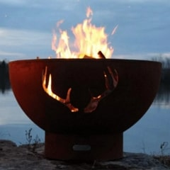 "Antlers 36"" Fire Pit by Fire Pit Art with Fire"