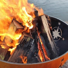 """Navigator 36"""" Steel Fire with Firewoods Burning"""