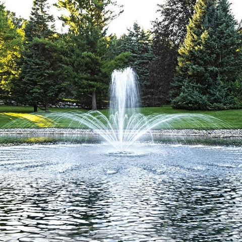 Airmax EcoSeries 1/2HP Floating Pond Fountain Shooting in Crown & Trumpet Pattern