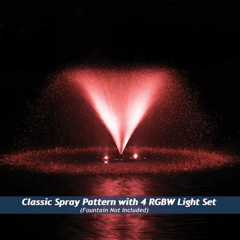 Airmax RGBW Color Changing LED Fountain 4 Light Set in Red Light