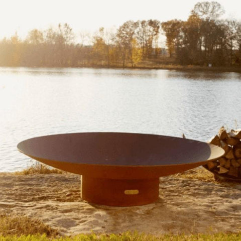 "Asia 60"" Fire Pit by Fire Pit Art with Pond Background"