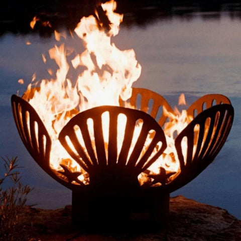 "Barefoot Beach 42"" Fire Pit by Fire Pit Art with a Pond Background"