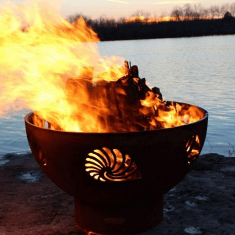 "Beachcomber 36"" Fire Pit by Fire Pit Art Wood Burning with Pond  Background"