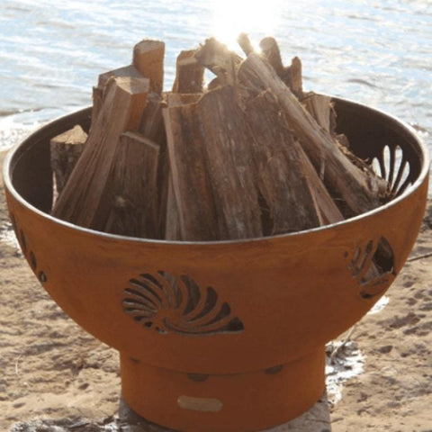 "Beachcomber 36"" Fire Pit by Fire Pit Art with Firewood"