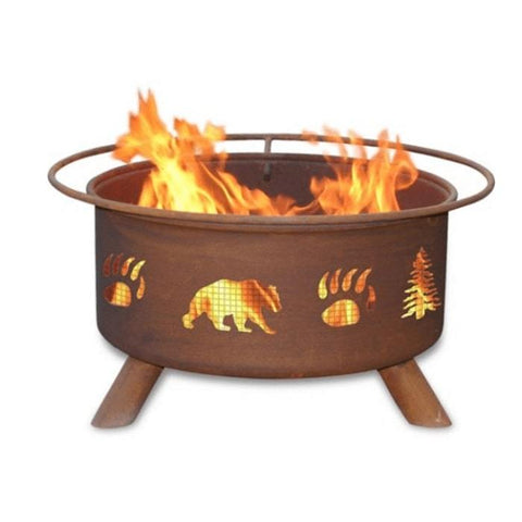 Bear & Trees Steel Fire Pit by Patina Products