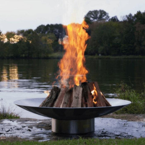 "Bella Vita 34"" Stainless Steel Fire Pit by Fire Pit Art with Pond Background"