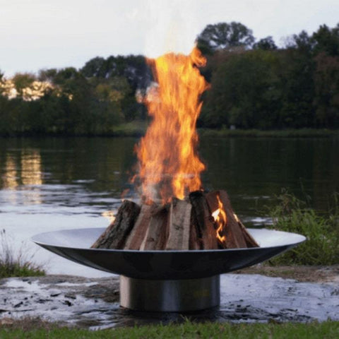 "Bella Vita 46"" Stainless Steel Fire Pit by Fire Pit Art with Firewood Burning"