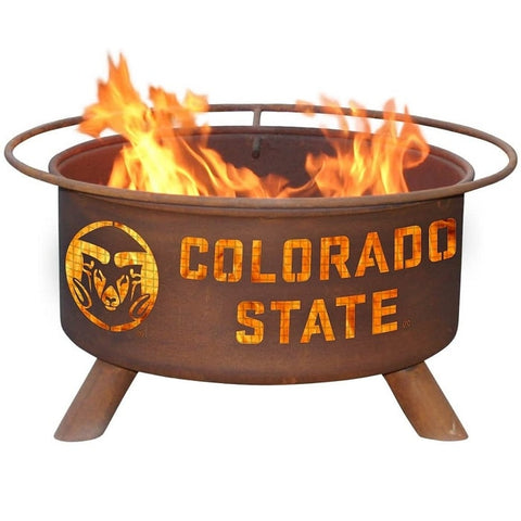 Colorado State F469 Steel Fire Pit by Patina Products with white background.