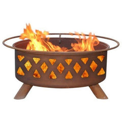 Crossfire F118 Steel Fire Pit by Patina Products with white background.