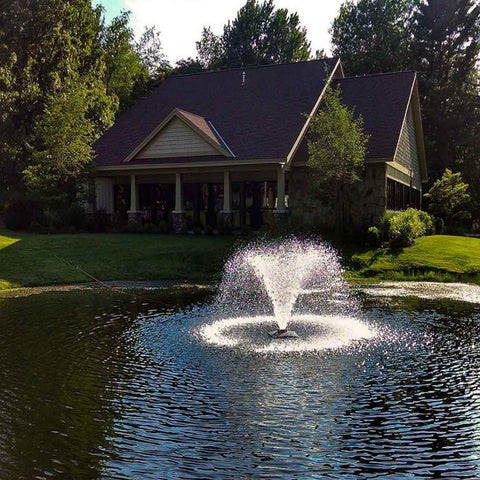 Scott Aerator DA-20 Display Fountain Aerator 1/3HP at the Pond with a House Background