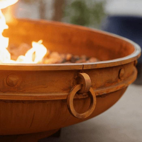 Emperor Steel Fire Pit by Fire Pit Art with A Beautiful Fire Inside the Pit