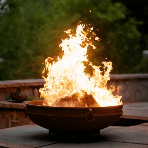 Emperor Steel Fire Pit by Fire Pit Art with Wood Burning Inside the Pit