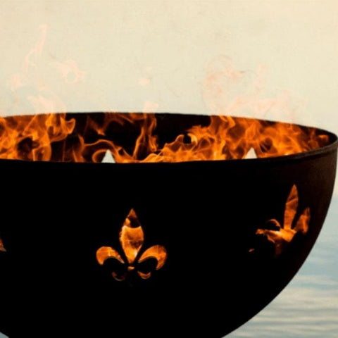 "Fleur De Lis 36"" Fire Pit by Fire Pit Art with Ocean Background"