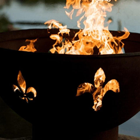 "Fleur De Lis 36"" Fire Pit by Fire Pit Art with Fire Inside"