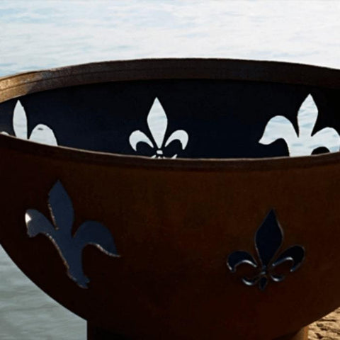 "Fleur De Lis 36"" Fire Pit by Fire Pit Art with no Fire"