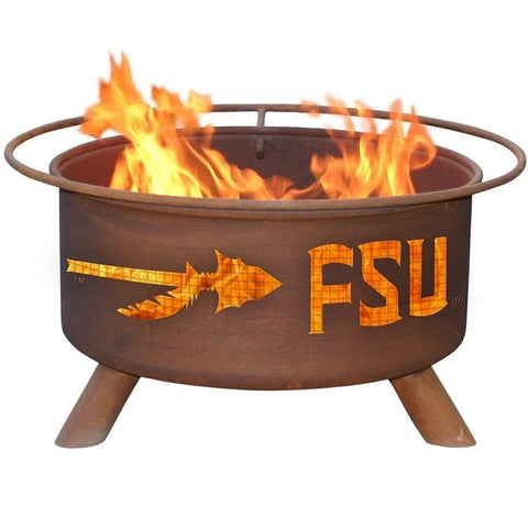 Florida State F211 Steel Fire Pit by Patina Products with white background.