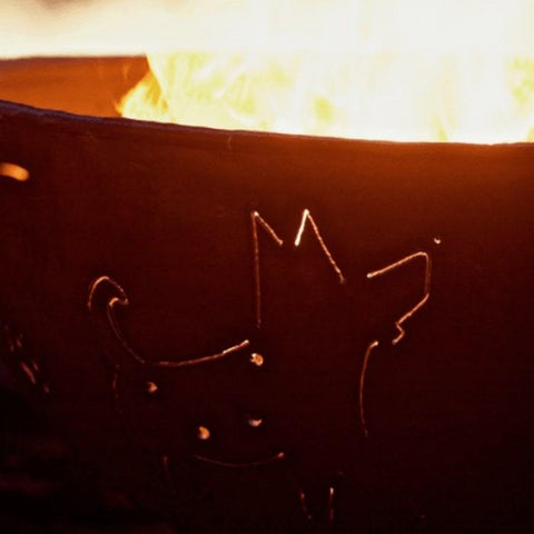 "Funky Dog 36"" Steel Fire Pit by Fire Pit Art with a Close up Image of the Dog"