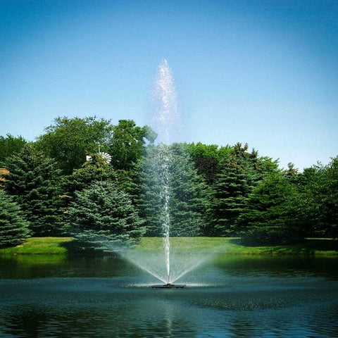 Scott Aerator Skyward Pond Fountain 1.5HP 230V with a Pine Trees Background