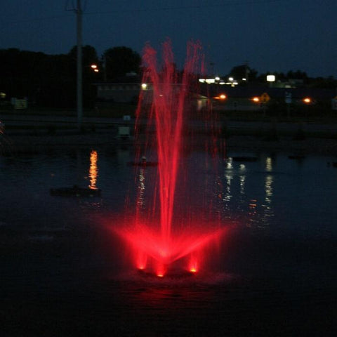 Kasco RGB3C5 Pond Fountain Composite RGB LED 3 Light Kit in a Pond with Red Lights