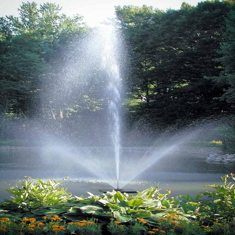 Scott Aerator Skyward Pond Fountain 1/2HP Shooting Water with Flowers and Trees