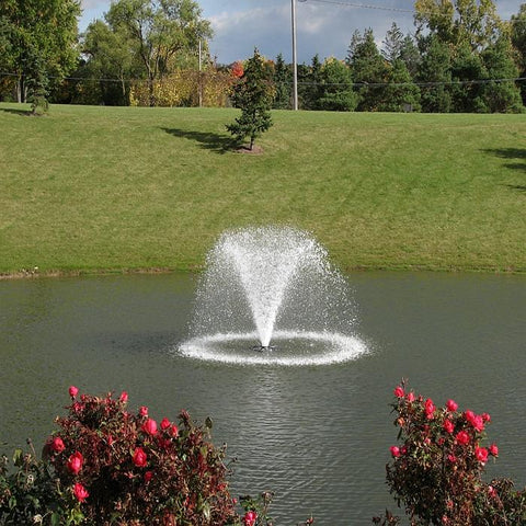 Scott Aerator North Star Fountain Aerator 1.5HP 230V with Green Grasses Everywhere and Trees