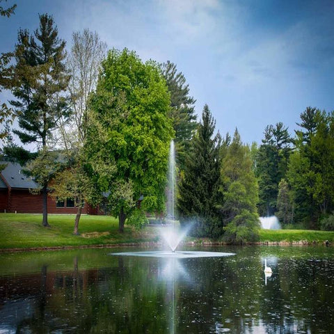 Scott Aerator Skyward Pond Fountain 1.5HP 230V with a House and Trees Background