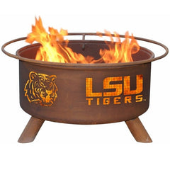 LSU F221 Steel Fire Pit by Patina Products with white background.