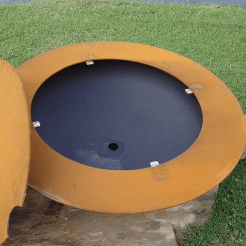 Inside Image of the Magnum Steel Fire Pit with Lid by Fire Pit Art
